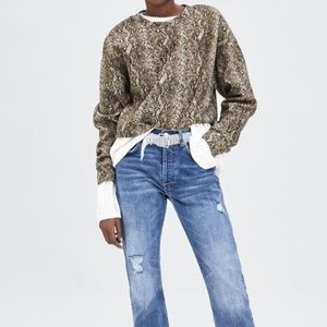 Zara animal print cropped sweatshirt